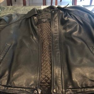 Men's lamb skin leather bomber jacket